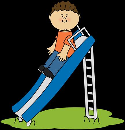 Kid on a Slide Clip Art