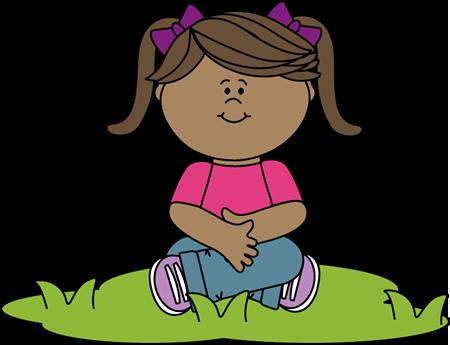Kid Sitting in Grass Clip Art