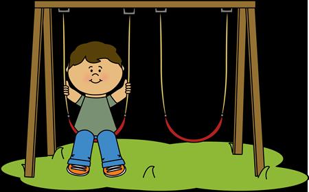 Kid Swinging at Recess Clip Art