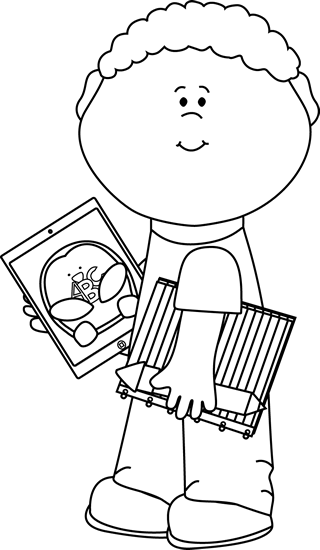 Black and White Kid with School Supplies and Tablet
