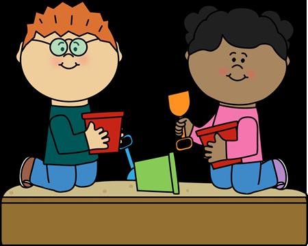 Kids in Sandbox Clip Art