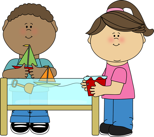 kids playing at a water table - Cartoon Kids Pics