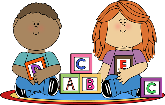 Kids playing with blocks clip art image - school kids sitting criss