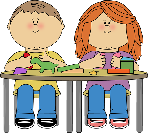 Kids Playing with Clay Clip Art Image - kids sitting at a table and ...
