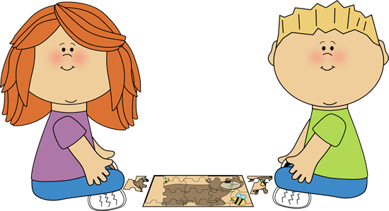 Kids Putting Puzzle Together Clip Art Kids Putting