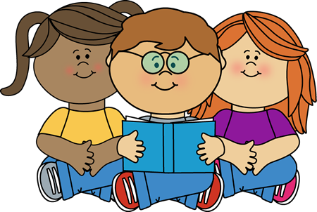 Kids Reading a Book Clip Art