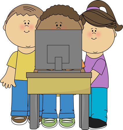 Kids Using School Computer Clip Art - Kids Using School ...