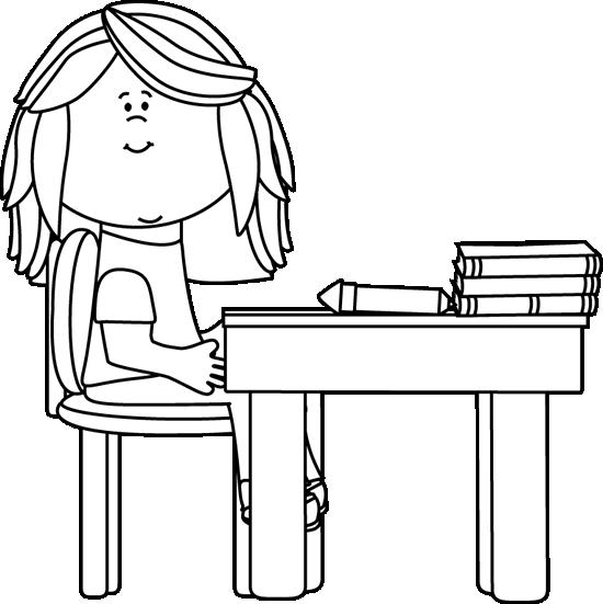 Black and White Little Girl at School Desk