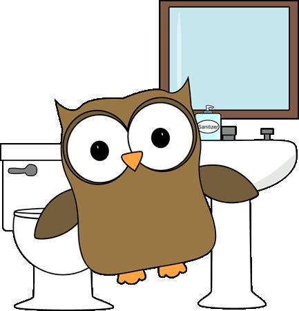 Owl Bathroom Monitor Clip Art