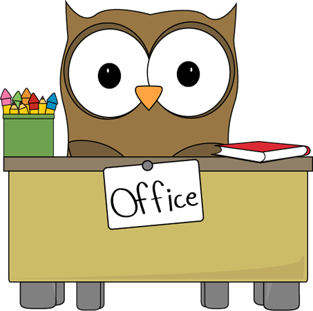 This is a very cute picture of an owl who is doing his work at the office!