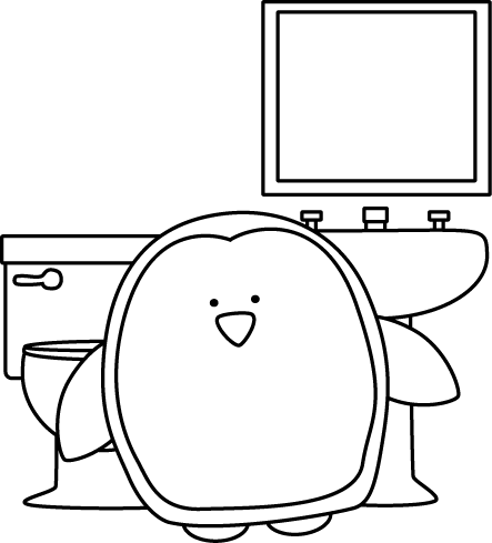 Black And White Penguin Bathroom Monitor Clip Art Black And White