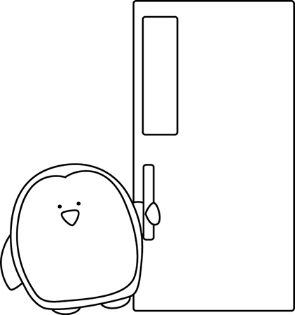 Black and White Penguin Door Holder