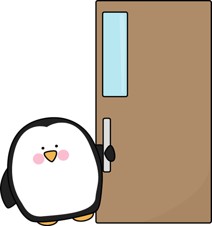 Penguin Door Holder Clip Art Image - penguin hold a door open. This ...