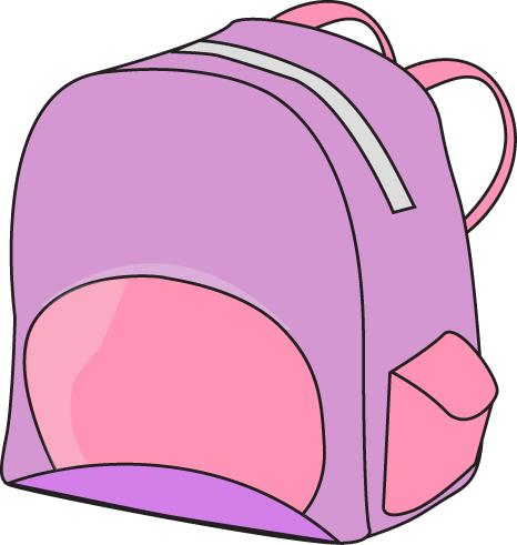 Purple and Pink Backpack Clip Art Image - purple backpack with pink ...