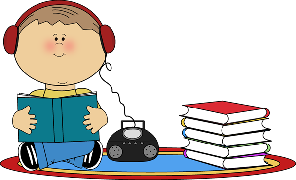 Boy Listening to Book on CD Player Clip Art