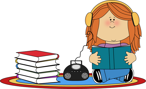 Girl Listening to Book on CD Player Clip Art