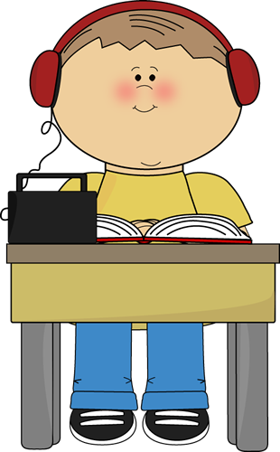 Boy Reading and Listening to Book Clip Art