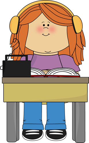 Girl Listening to Book with Headphones Clip Art
