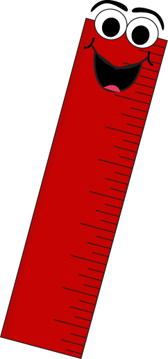 Red Cartoon Ruler Clip Art Image - red ruler with a funny cartoon face    Yellow Ruler Clip Art