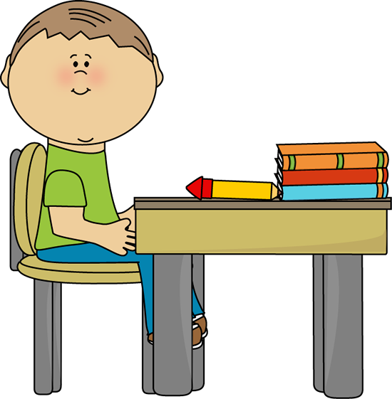 School Boy At Desk Clip Art