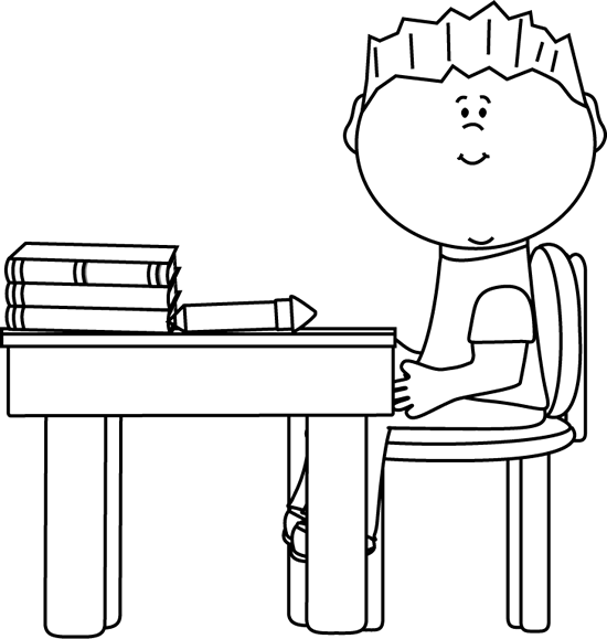 Black and White Black and White Little Boy at School Desk