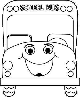 Black and White School Bus Cartoon