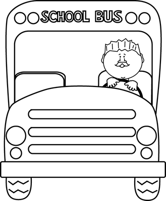 Black and White School Bus Driver