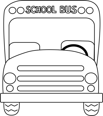 School Bus Front Black and White