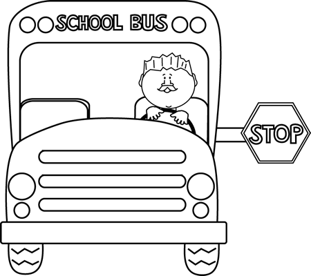 Black and White Stopped School Bus