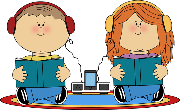 School Kids on Rug Listening to Books Clip Art