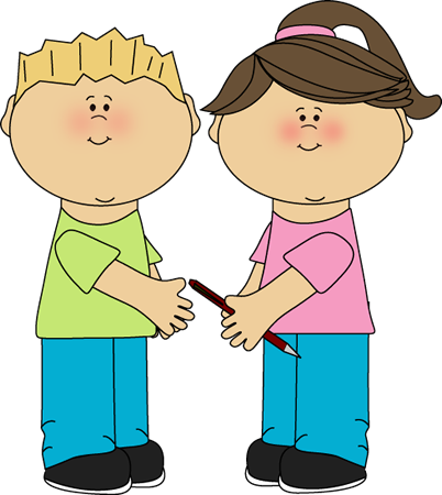School Kids Sharing Clip Art Image - school kids sharing a pencil.