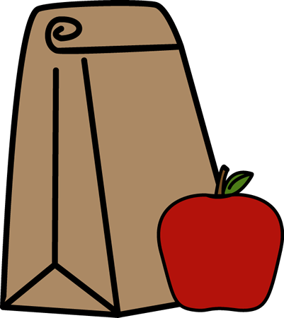 School Lunch Bag Clip Art Image - school lunch bag with an apple.