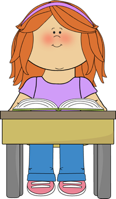 Book Clip Art Image - girl student reading a book at her school desk