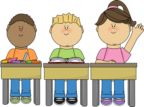Students at School Clip Art - Students at School Vector Image