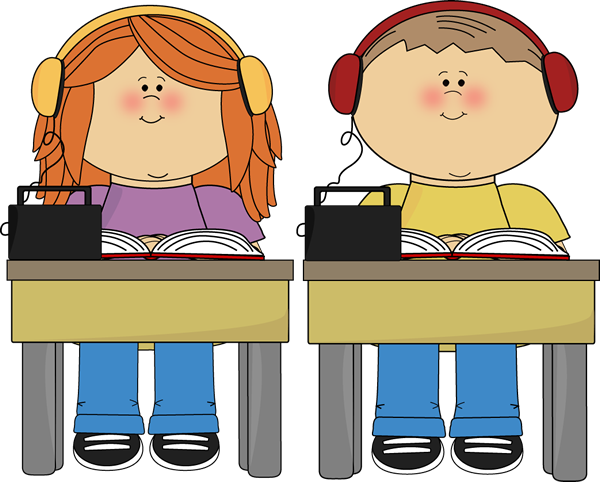 Schook Kids Listening to Books Clip Art