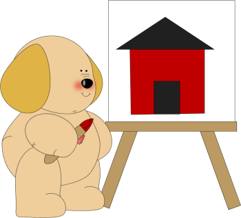 Dog Painting a Schoolhouse