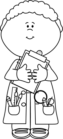 Black and White Boy Scientist with a Clipboard