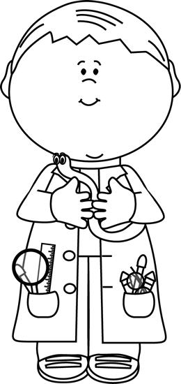 Black and White Boy Scientist with a Worm
