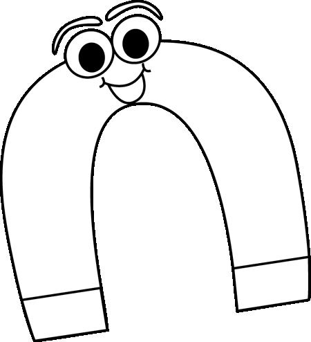 Black and White Cartoon Horseshoe Magnet