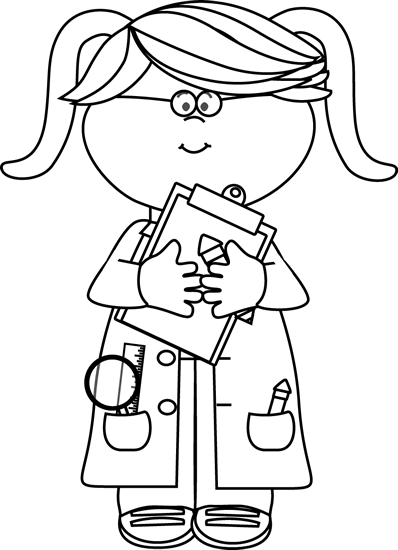 Black and White Girl Scientist with a Clipboard