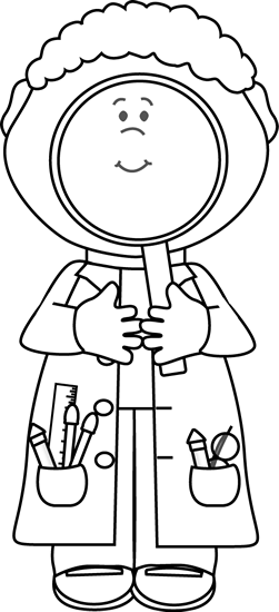 Black and White Scientist with Big Magnifying Glass