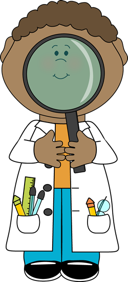Scientist with Big Magnifying Glass