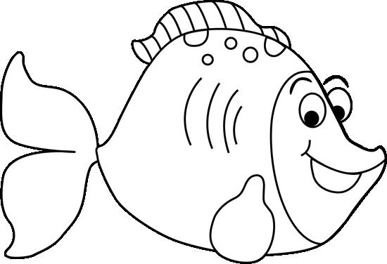 Black and White Cartoon Fish Clip Art - Black and White ...