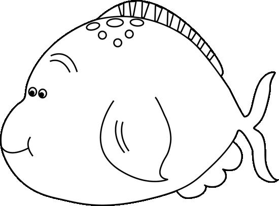 Black and White Cute Fat Fish