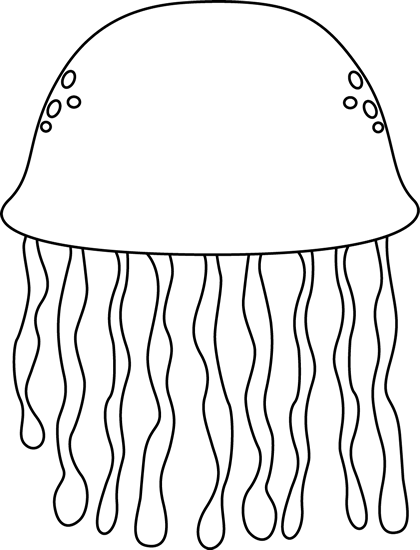 Black and White Jellyfish Clip Art - Black and White ...