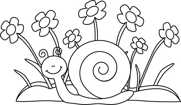 black and white snail and flowers clip art black and