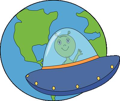 Alien Flying UFO to Earth