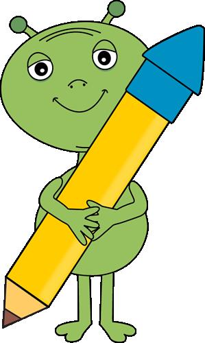 Alien Holding a Big Pencil