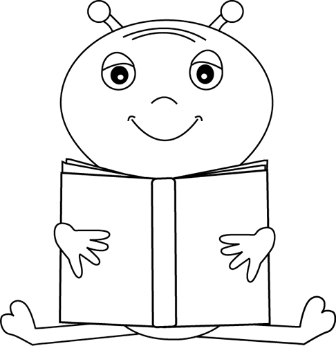 Black and White Alien Reading a Book