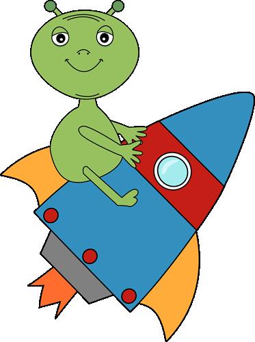 Alien Riding on a Rocket